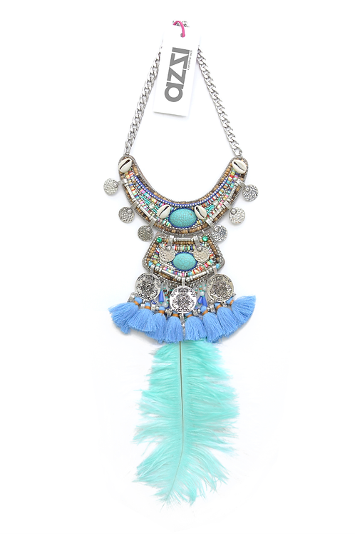 Blue Ethnic Silver Feathers Necklace with Silver Coins