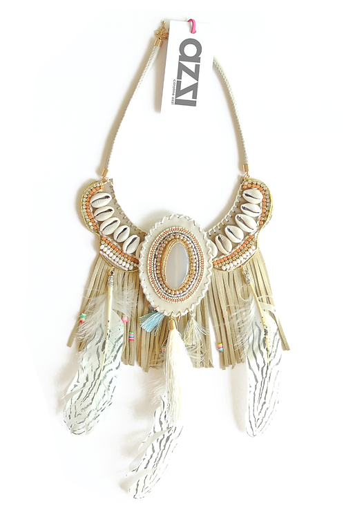 Ethnic Beige Feathers Necklace with Fringes & Natural Stone Medallio