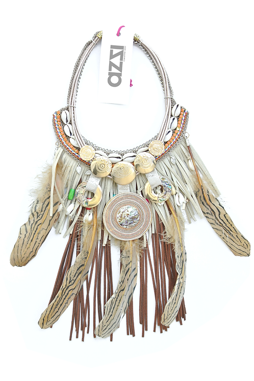 Exclusive Ethic  Feather Necklace with Bronze Medallion