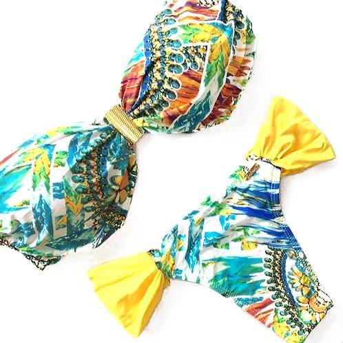 Yellow & Turquoise Tropical patterned Brazilian Bikini with Band Shape