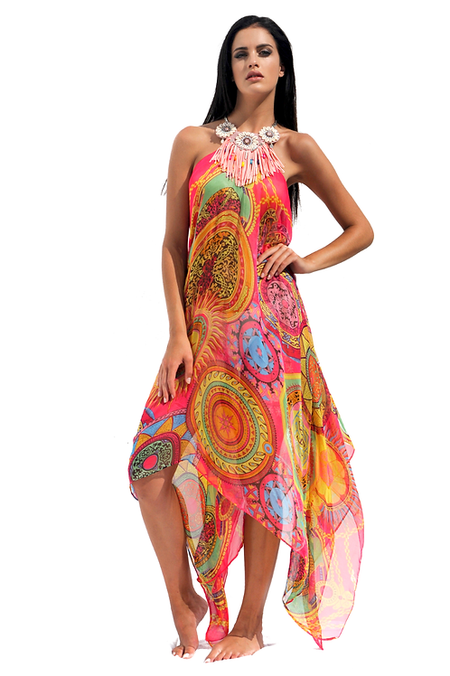 Pink & Multicolored Mandalas Silk Dress with Pink Fringes Necklace
