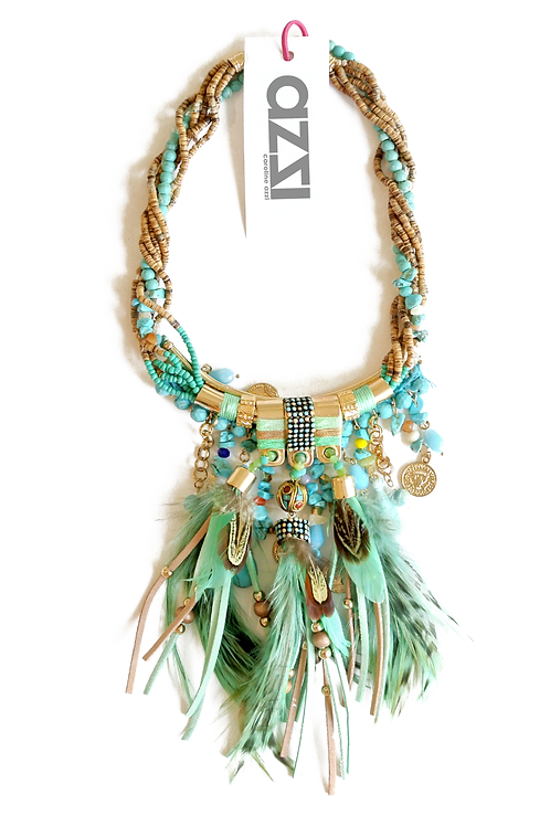 Green Ethnic Gold Feathers Necklace
