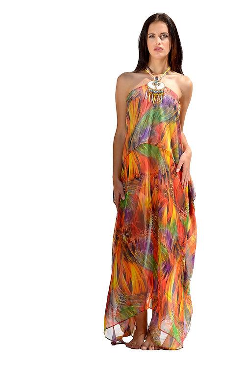 Orange Mix Silk Dress with Elegant Safari Necklace
