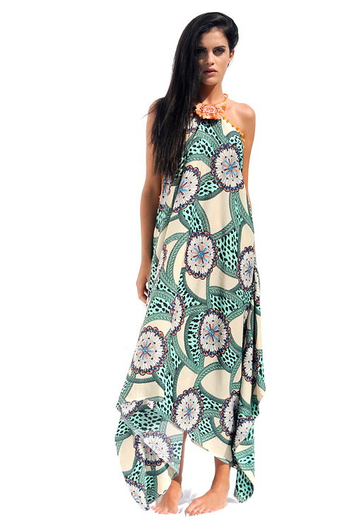 Green & Beige Print patterned Mix Silk Dress with Orange Boho Necklace