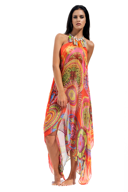 Red & Multicolored Mandalas Silk Dress with Feathers Necklace