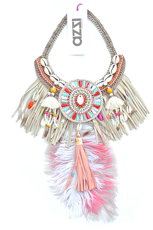 Ethnic Coral & Beige FeathersNecklace with Central Shell Medallion
