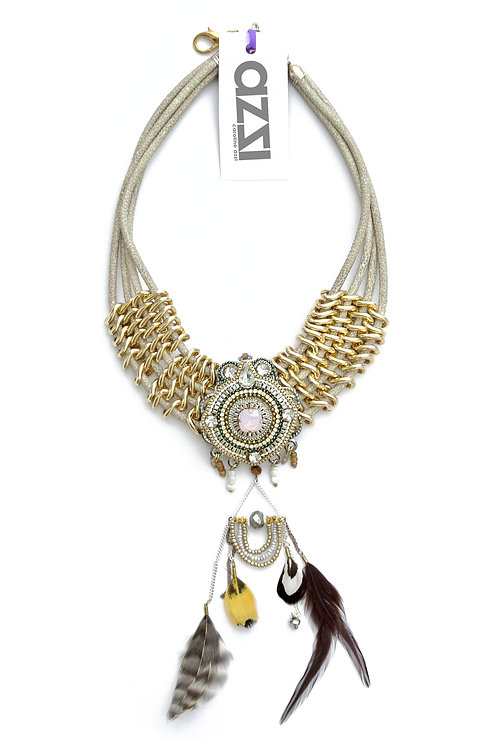 Ethnic Bronze Necklace with Crystal & Feathers Medallion