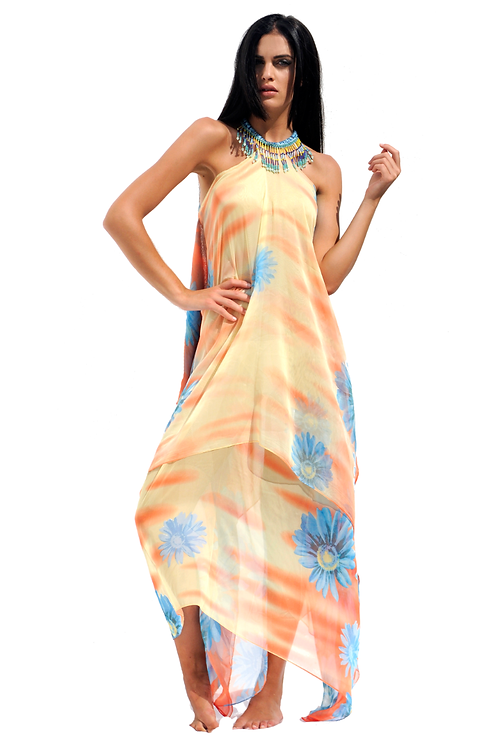 Yellow & Coral Silk Dress with Blue Flowers - Turquoise  Fringes Necklace