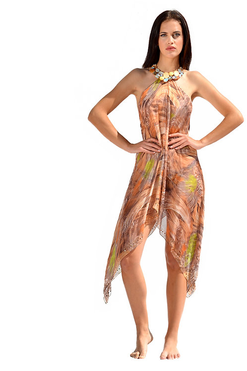 Short Beige Mix Silk Dress with Crystals Necklace