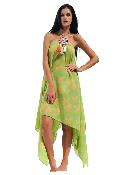 Green & Yellow printed pattern  Dress with Multi Colored Boho Necklace