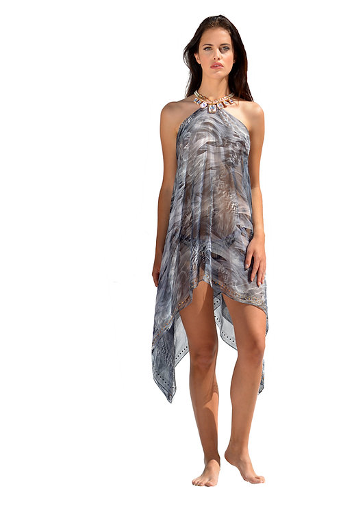 Short Grey Mix Silk Dress with Crystals Necklace