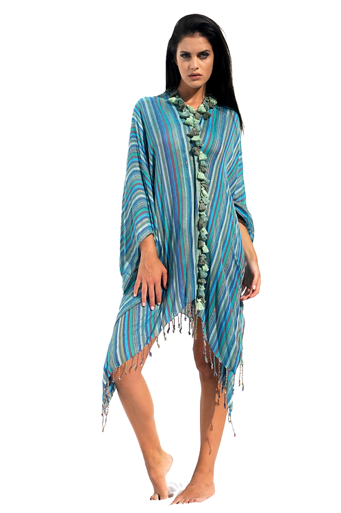 Turquoise opened Summer Poncho with Green Fringes