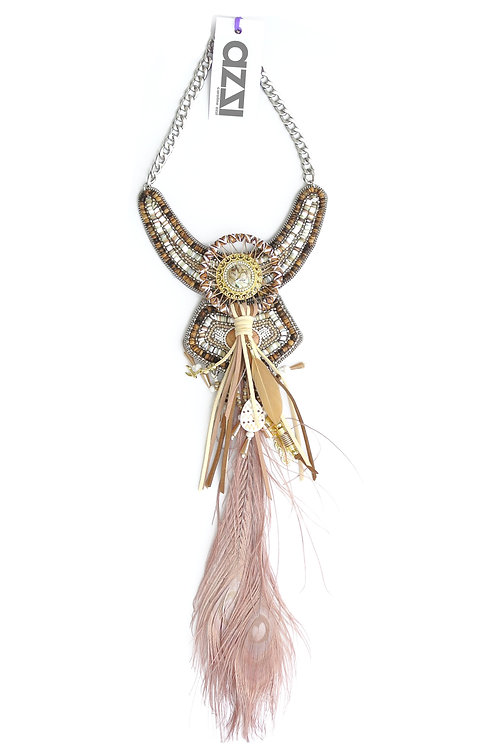 Beige Ethnic Feathers Necklace with central Medallion