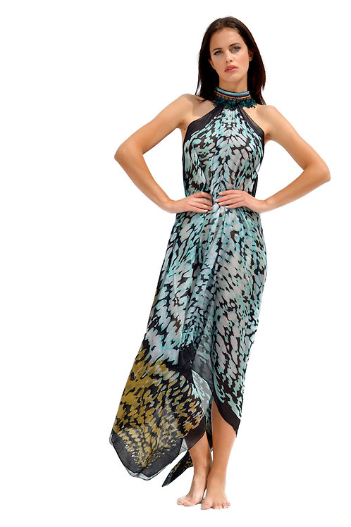 Animal Print Pure Silk Dress with Feather Necklace