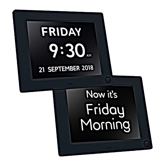 "7"" Unforgettable 2-in-1 Calendar & Day Clock in Black"