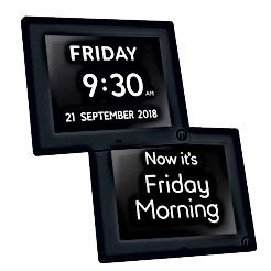 "7"" Unforgettable 2-in-1 Calendar & Day Clock in Black"