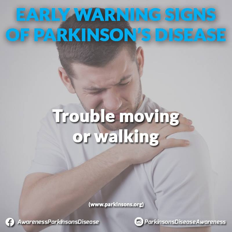 Sometimes stiffness goes away as you move. If it does not, it can be a sign of Parkinson's disease. You might notice that your arms don't swing when you walk, or maybe other people have said you look stiff. An early sign might be stiffness or pain in your shoulder or hips. People sometimes say their feet seem 'stuck to the floor.' (http://www.parkinson.org/)