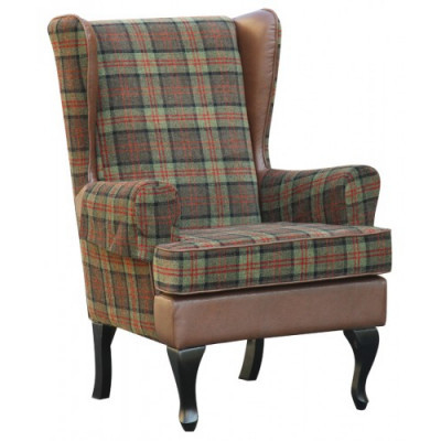 Betterlife Stirling Tartan High Back Winged Chair