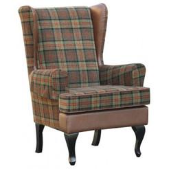 Betterlife Stirling Tartan High Back Winged Chair