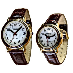 Talking Watch with Gold Case and Brown Croc Leather Effect Strap