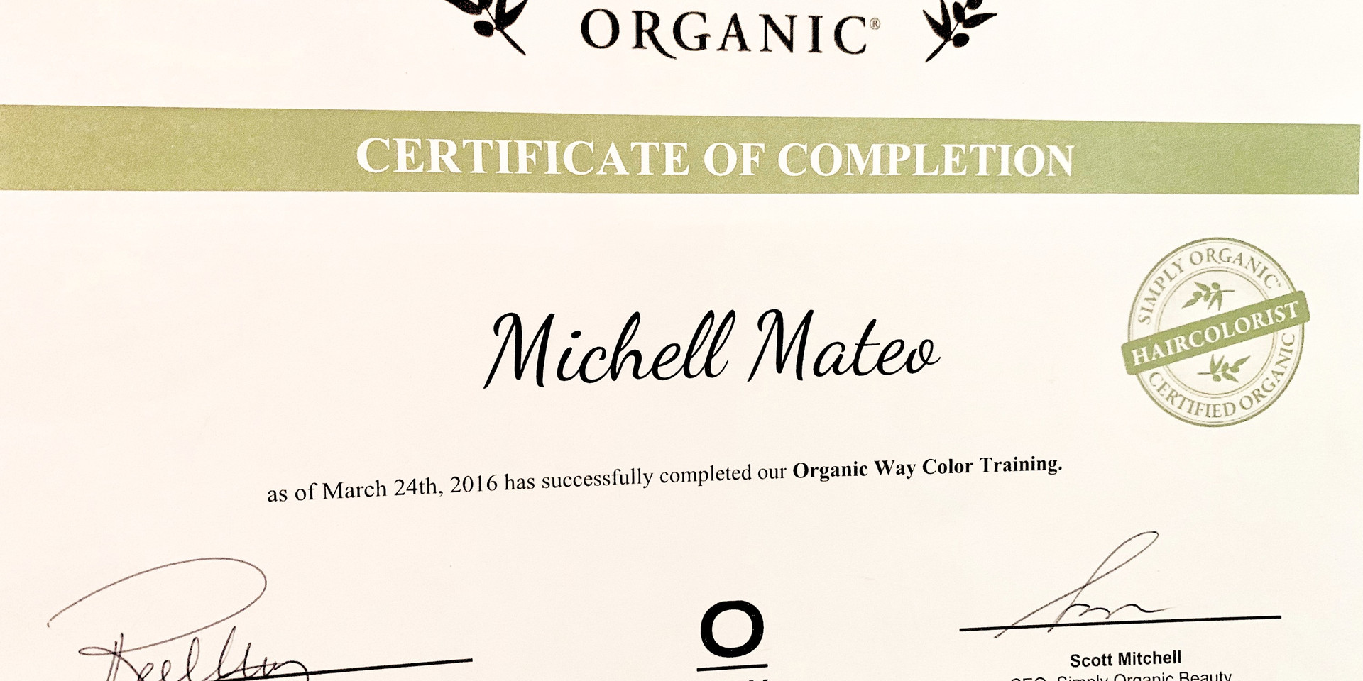 Certified Organic Hair colorist