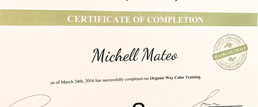 Certified Organic Hair colorist