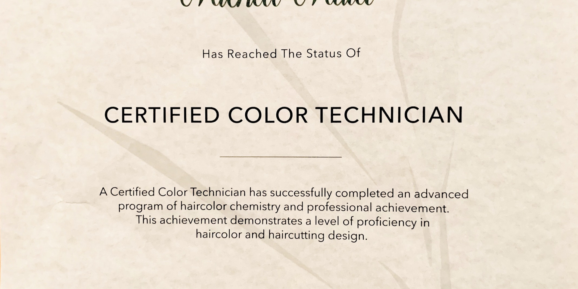 Certified Color Technician