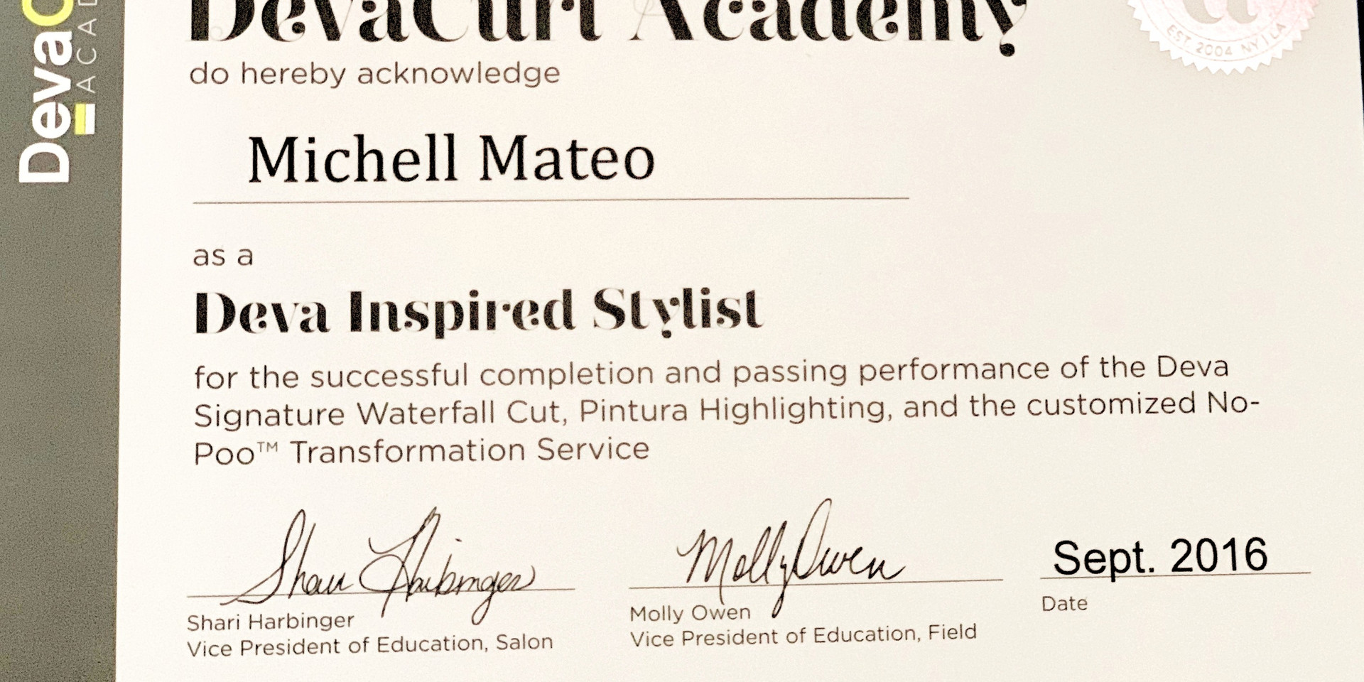 Certified Deva stylist