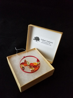 Falling leaves quilled ornament