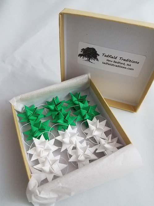 Moravian Stars - Set of 12 in Green and White