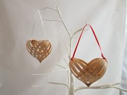 Black Ash Woven Heart Ornaments
