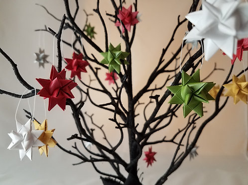 Set of 30 Moravian Stars in Shiny Christmas Colors