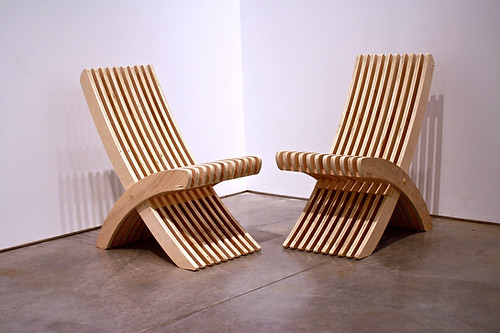 Pair of Nomadic style plywood chairs.
