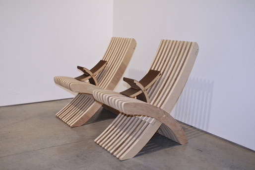 Birch plywood slate design chairs with laser cut prototypes.