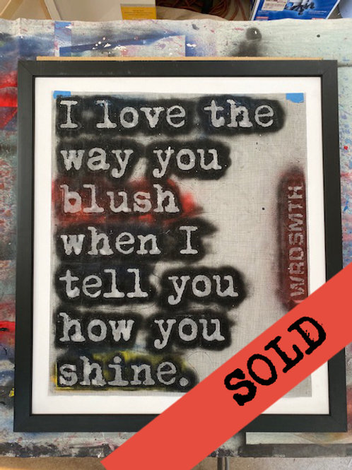 "'blush/shine' original hand-cut stencil (35"" x 40"" framed)"