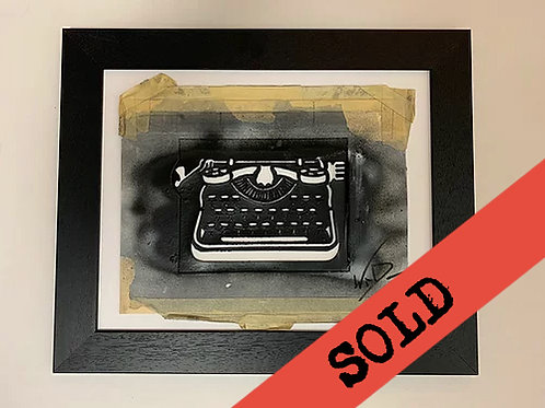 'typewriter' 2.0 original hand-cut stencil (framed)