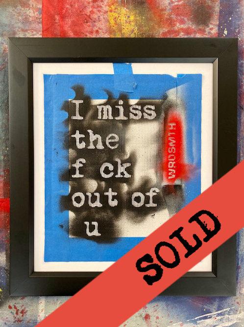 'f ck out of u' original hand-cut stencil (framed)