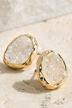 Elena Oval Druzy Stud Earrings