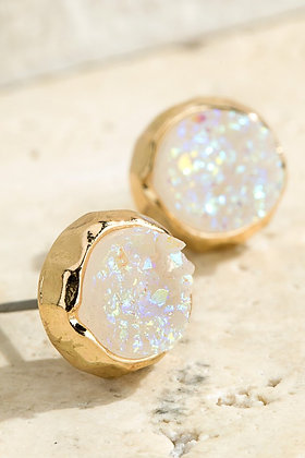 Catalina Round Druzy Stud Earrings
