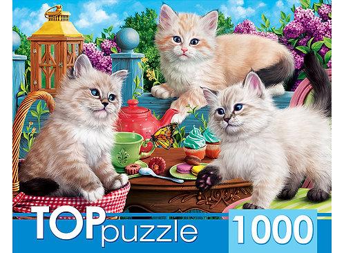 TOPpuzzle. ПАЗЛЫ 1000 элементов. ХТП1000-2157 Котята и чаепитие