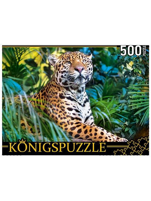Konigspuzzle. ПАЗЛЫ 500 элементов. ШТK500-3699 ЛЕОПАРД В ДЖУНГЛЯХ