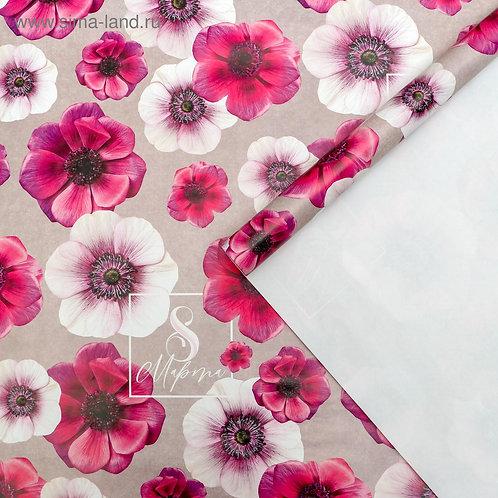 Бумага упаковочная глянцевая  «Цветы на 8 марта», 70 × 100 см 5351667