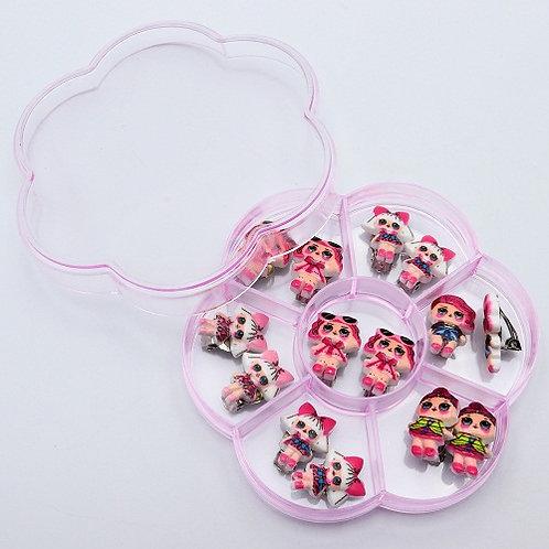 Набор для девочек клипсы 7шт плоские 01569 в пластиковой упаковке
