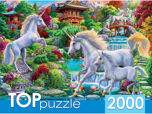 TOPpuzzle. ПАЗЛЫ 2000 элементов. ХТП2000-1593 Единороги в восточном саду