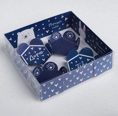 "Коробка для макарун с подложками ""Ассорти"" 120х120х30мм ДАРИТЕ СЧАСТЬЕ 3132111/4"