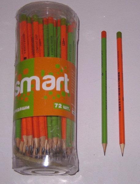 "Карандаш простой без ластика ""Smart"" трехгранный корпус неон LEO L1514/280203 (7"