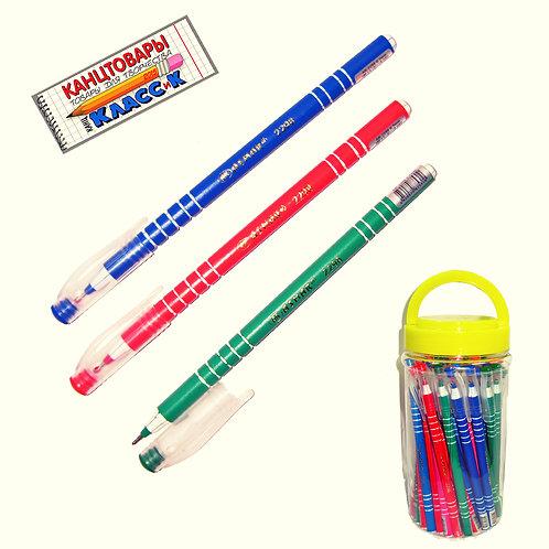 Ручка шариковая корпус круглый цветной в полоску СИНЯЯ ASMAR AR-2298 (50шт/уп)