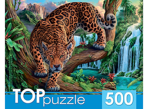 TOPpuzzle. ПАЗЛЫ 500 элементов. ХТП500-6813 Леопард у водопада