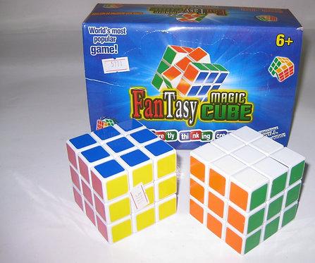 Кубик-Рубика 3х3х3 СРЕДНИЙ 5,5х5,5см с белой оконтовкой LH012/5711 (6шт/уп) без