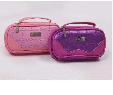 Пенал-косметичка КОЖЗАМ 1отдел на молнии с ручкой синий/розовый/фиолетовый 200х8